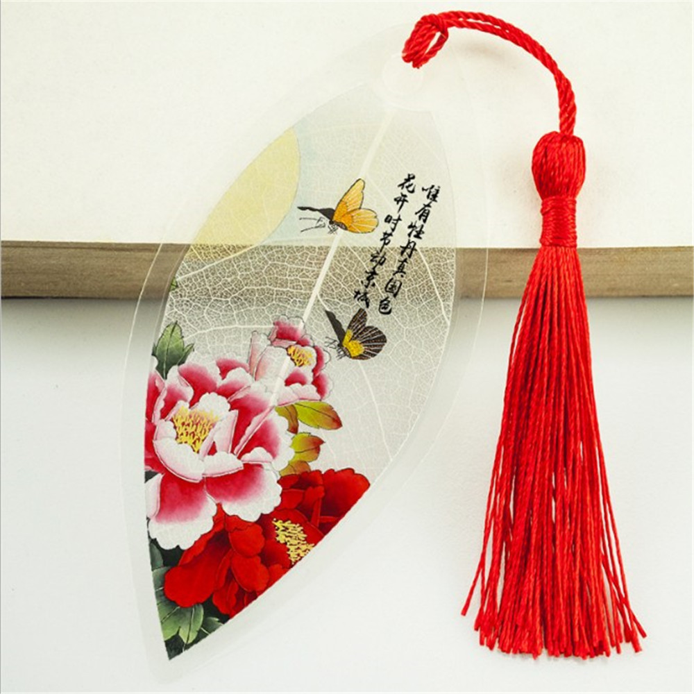 1Pc Classical Elegance Creative Tassel Bookmark Chinese Wind Natural Collectibles Leaves Vein Bookmarks Creative Stationery
