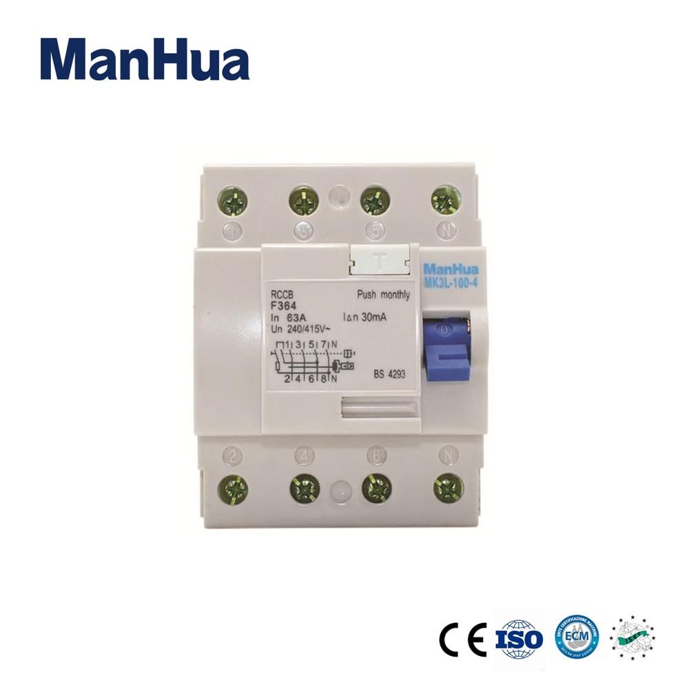 ManHua 4 poles F364 Residual Current Rcd 63A Circuit Breaker new 30653 circuit breaker compact ns160n tmd 80 a 4 poles 4d