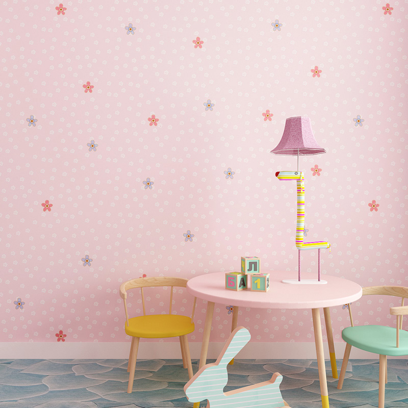 Children's Room 3D Cartoon Pink Blue Flowers Non-Woven Wallpaper Boys And Girls Kids Bedroom Eco-Friendly Background Wall Papers cartoon cat wallpaper for children s room boys girls bedroom wall decoration pink blue white beige 3d non woven wall paper roll