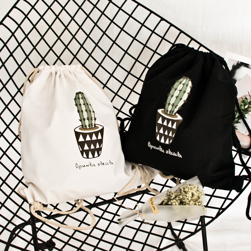 YILE Cotton Canvas Drawstring Travel Backpack Student Shoes Book Bag Opuntia Cactus Pot S002 super star 1 student s book [with audio cd x2 ]