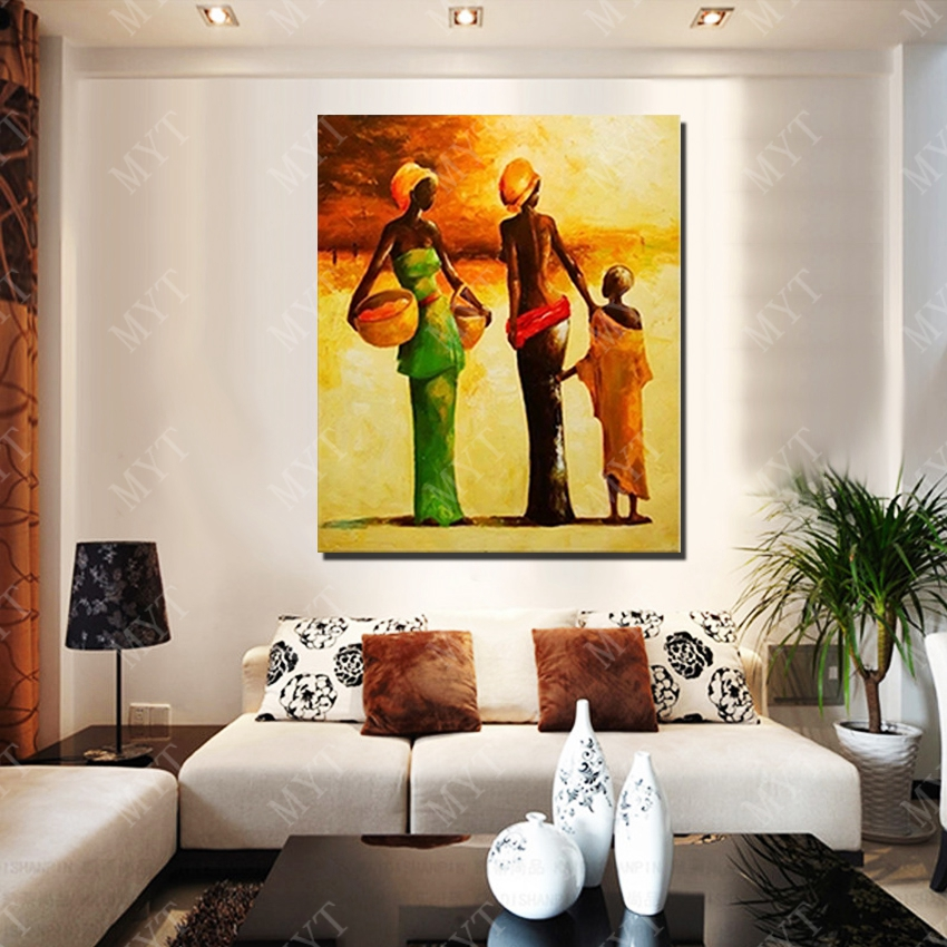 Large Wall Pictures For Living Room: New Design Modern African Women Oil Painting Living Room