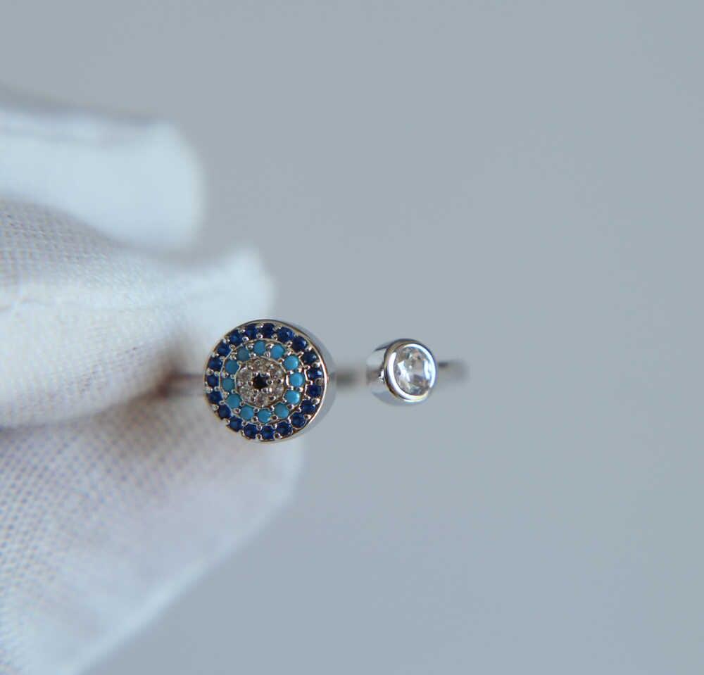 Rose Gold Evil Eye เปิดแหวนสีดำผสม CZ ใหม่เครื่องประดับหรูหราแหวน Cubic zircon ผู้หญิงตุรกีแหวนเครื่องประดับ