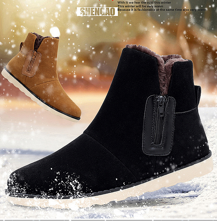 Men s Boots 2018 Winter Snow Boots With Fur Men Casual Shoes Warm Men Footwear Rubber Ankle Boot Flats Shoes Flock Sneakers