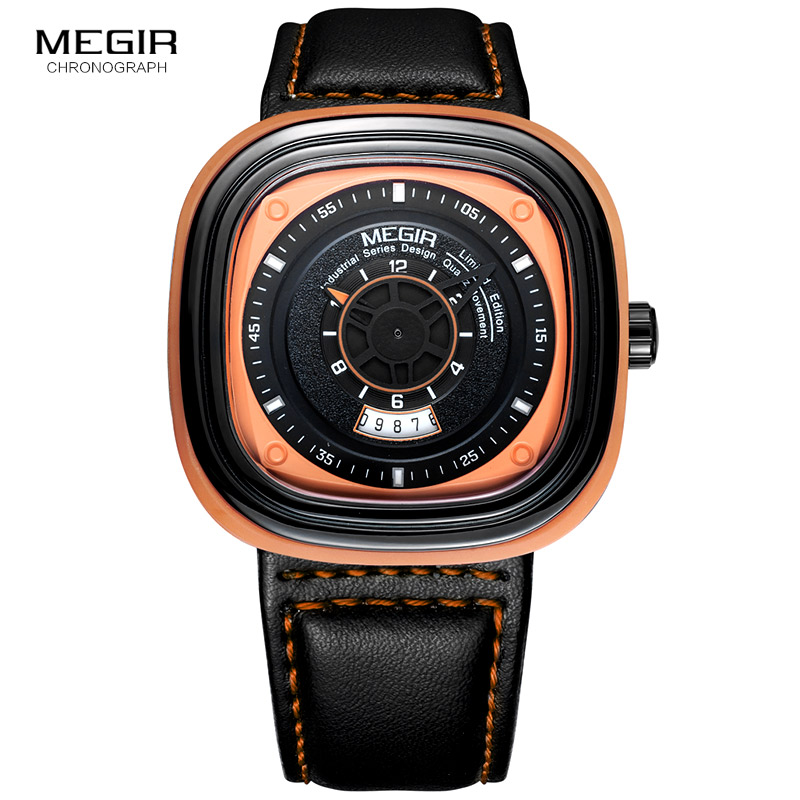 Megir Mens Black Leather Strap Square Dial Quartz Watches Fashion Wristwatch with Calendar Date for Man Orange Blue 2027 megir mens watches leather strap square dial luxury quartz watch clock waterproof sport chronograph wristwatch montre for man