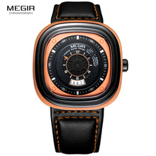 Megir Mens Black Leather Strap Square Dial Quartz Watches Fashion Wristwatch with Calendar Date for Man Orange Blue 2027