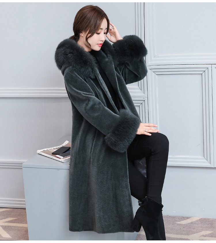 Caidi Kedani 2019 New Women Winter Real Fur Jacket Coat Genuine Casual Slim Full Sleeve Fox Fur Jackets Long Coats Outerwear+Cap