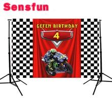 Sensfun bandeira de fundo de estúdio fotográfico, desenho animado da motocicleta, festa de aniversário, bandeira de fundo de foto personalizada, 7x5ft