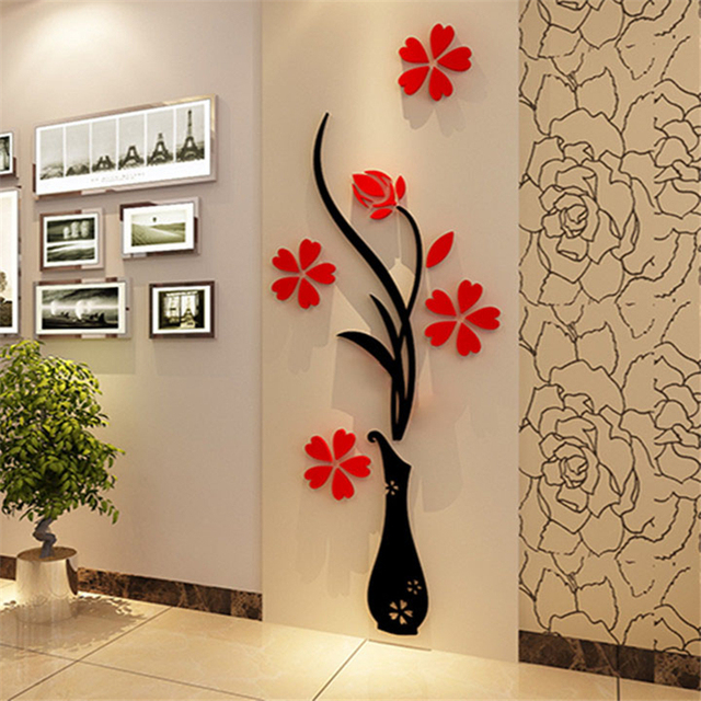 Hot 3D Wall Stickers Vase Plum Flower Modern Home Decor Diy Crystal Acrylic Wall  Sticker Bedroom