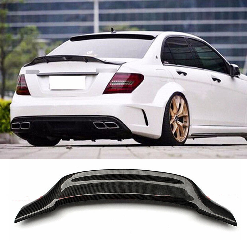 W204 C180 C200 C260 <font><b>C300</b></font> Carbon Fiber Car Rear Trunk lip spoiler wing For <font><b>Mercedes</b></font> Benz W204 C63 4 Door 2008-2013 r Style image