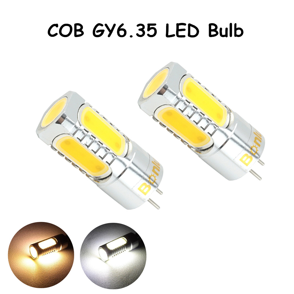 LED GY6.35 12V AC/DC Bulb Light 450lm 5 Watts COB Leds G6.35 Bulb Replace 35-50W Halogen Lamp for Crystal Chandelier Lighting high power dimmable 189mm led r7s light 50w cob r7s led lamp with cooling fan replace 500w halogen lamp