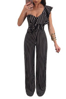 Striped Romper Women Jumpsuit Overalls One Shoulder Ruffle Elegant Ladies Party Jumpsuits Loose Black Wide Leg