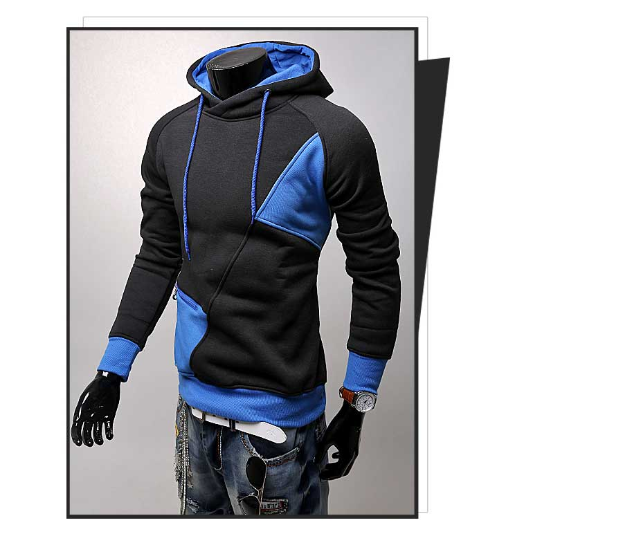 spring and autumn new hoodie men's matching color patchwork jumper Korean version of men's coat 46