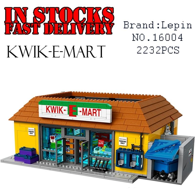 LEPIN 16004 2232pcs Simpsons KWIK-E-MART figures Action anime Figure M0del Building Bricks Blocks Compatible 71016 childrenGifts neue lepin 16004 2232 stucke die simpsons action modell baustein ziegel kompatibel 71016 fur kinder geschenk