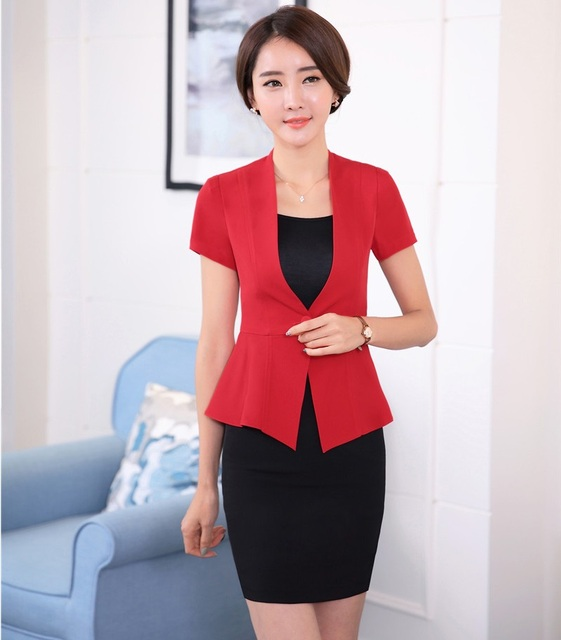 Novelty Red Professional Business Women Suits Jackets And Skirt 2016 Summer Formal Blazers Outfits OL Styles Plus Size 4XL