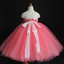 Детская одежда Красного Девушка платье Высокого класса Слинг стиль Марли Пачка платье Принцессы/платья с 3D flower ручной работы на заказ