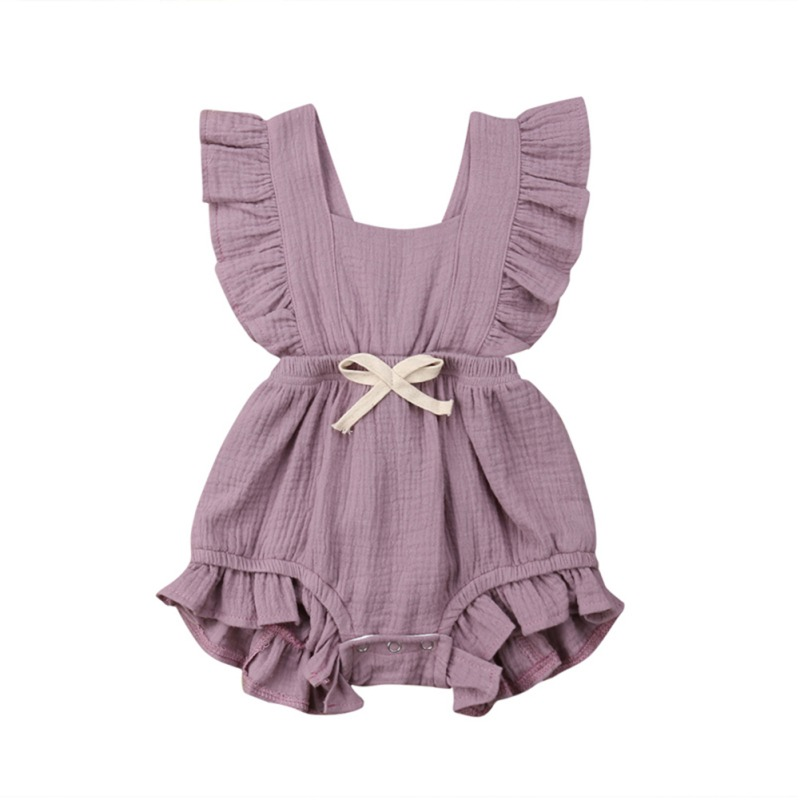 2019 Summer Newborn Baby Girls Ruffle Solid Color Romper Backcross Jumpsuit Outfits Sunsuit Baby Clothing