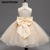 SMDPPWDBB Bow Girl Dresses For Wedding Pageant First Holy Lace Communion Dress For Girls Toddler Junior