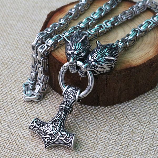 Men stainless steel necklace viking wolf head with thor's hammer mjolnir pendant norse talisman ethnic jewelry new hot movie necklace wholesale fashion stainless steel movie jewelry punk wolf pendant wolf head necklace