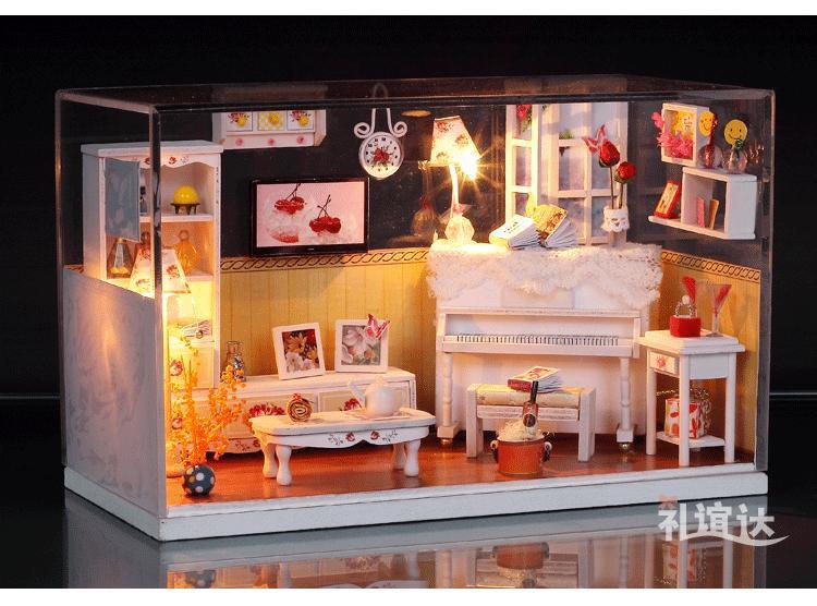 Crystal Box Led Light Dollhouse Room Miniatures Warm House Kit With