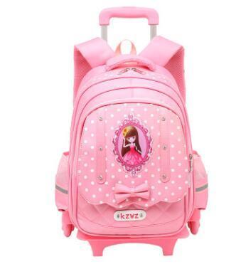 c1e62ce36 Niños mochila escolar sobre ruedas carro de la escuela bolsa para niñas  niños equipaje carro rodante