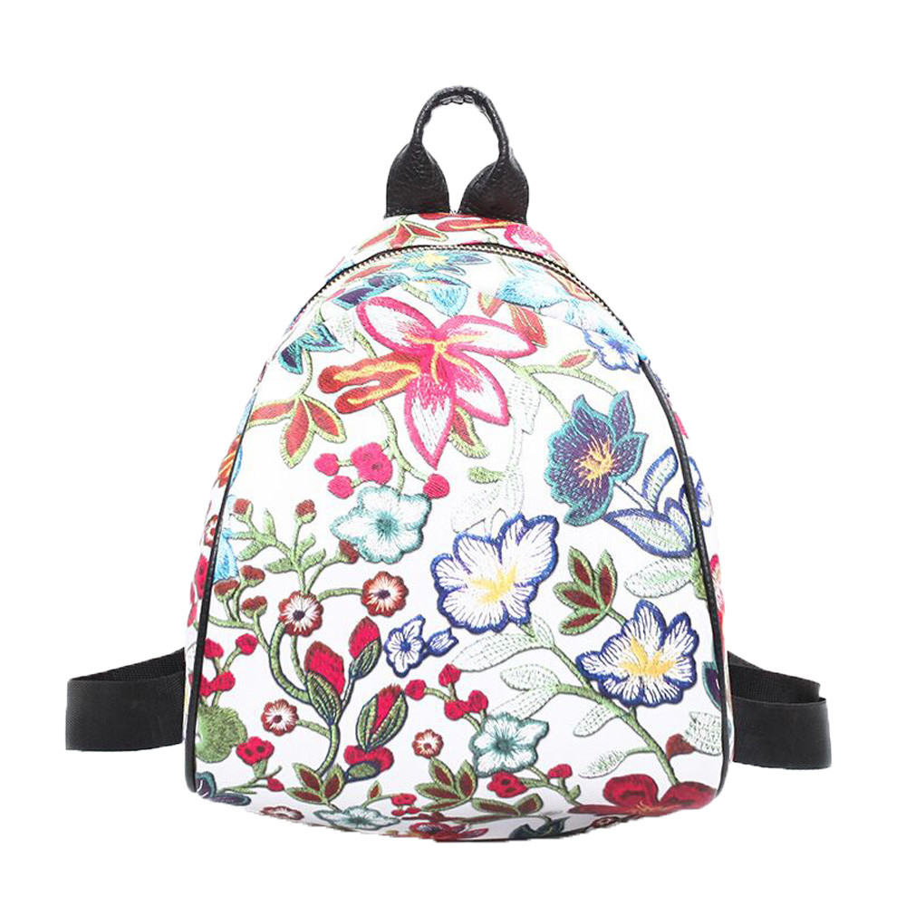 3 Colors Vintage Embroidery Ethnic Canvas Backpack Flower Travel Girl School Backbag Rugzak Mochila Feminina