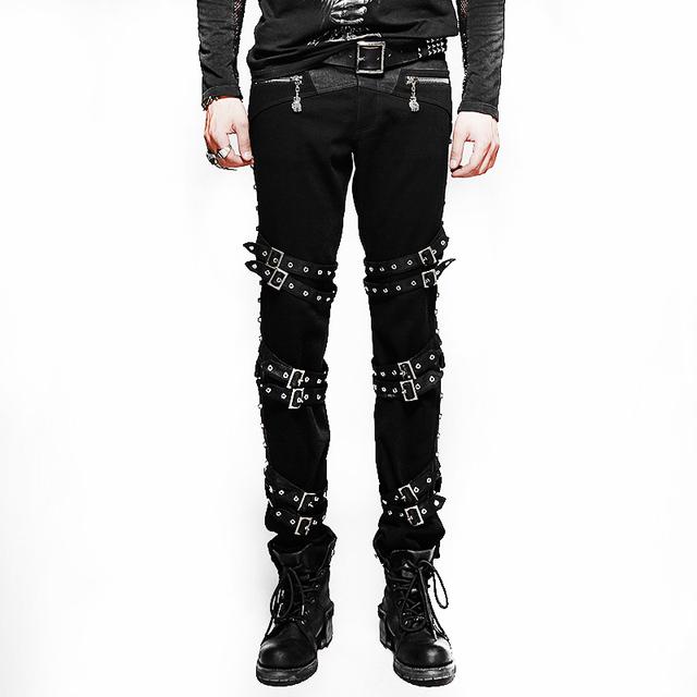 Invierno Punk gruesas Diagonales Hombre Pantalones Gótico Steampunk de Longitud Completa Pantalón negro Pantalones Slim Fit Pantalones Vaqueros Elásticos Más Tamaño 3XL