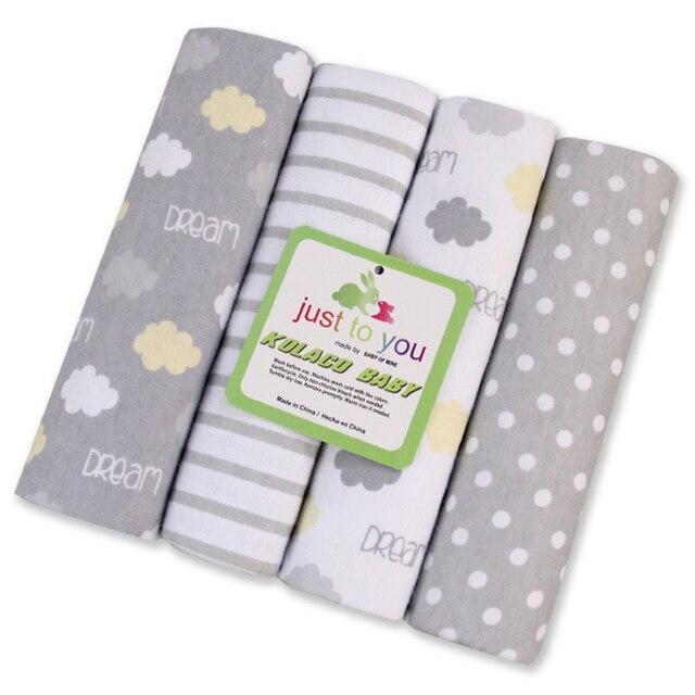 Hot Sale 100% Cotton Flannel Baby Blanket 4PCS/LOT Receiving Newborn Colorful Cobertor Baby Bedsheet Supersoft Blanket 76x76 CM