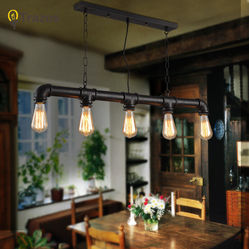 цена Water pipe Steampunk Vintage pendant lights for dining room Bar rust red home decoration American industrial loft pendant lamp