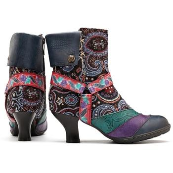Botas Con Estampado Floral   Socofy Estampado Floral Vintage Botas De Invierno Mujer Zapatos Mujer Cuero Genuino Empalme Cremallera Punta Redonda Botines De Mujer Nuevo