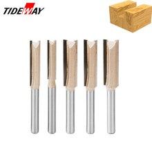 Tideway Juego de brocas para enrutador de madera recta, vástago de 8mm, cortador de fresado de carpintero, fresadora de extremo de carpintería de carburo de tungsteno