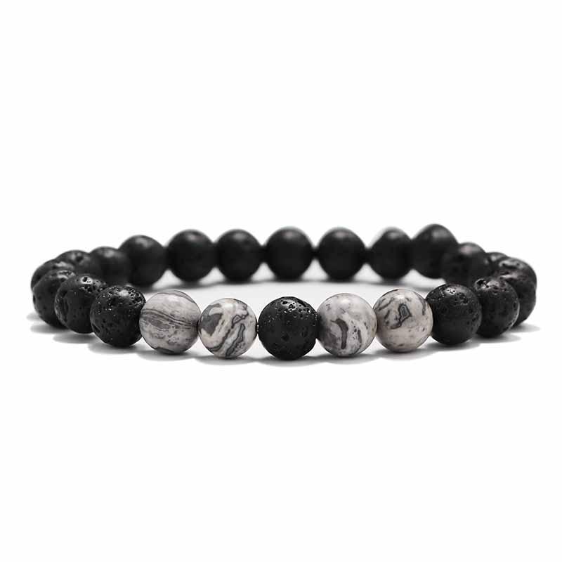 Мужские Браслеты Бусы из лавового Камня Натуральный Камень дерево жемчуг тигровый глаз бренд Модные четки 8 мм браслеты для йоги для женщин ювелирные подарки - Окраска металла: 4