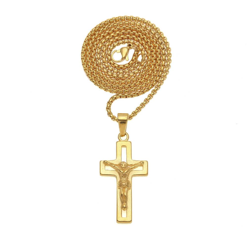 Uwin Hollow Chữ Thập Cây Thánh Giá Chúa Giêsu Thánh Giá Vòng Cổ Người Đàn Ông 316L Thép Không Gỉ Với Dây Chuyền Vàng Thời Trang Dây Chuyền Mặt Dây Hiphop Công Giáo Đồ Trang Sức