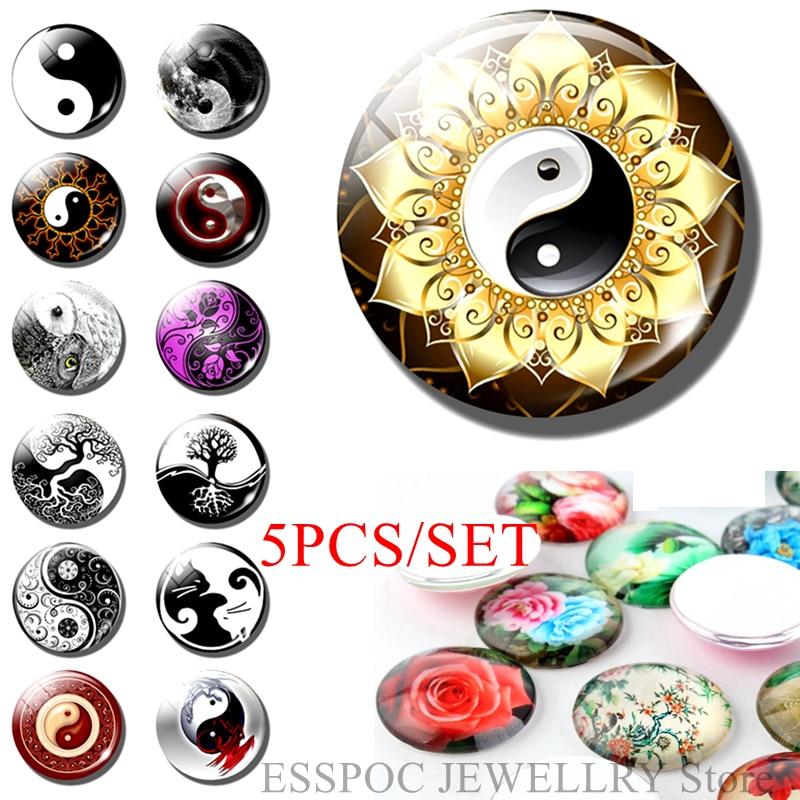 5PCS/SET Yin Yang Taichi 25mm Glass Cabochon Jewelry DIY Couple Dragon Life Tree Handmade Religious Accessories Jewelry Gifts