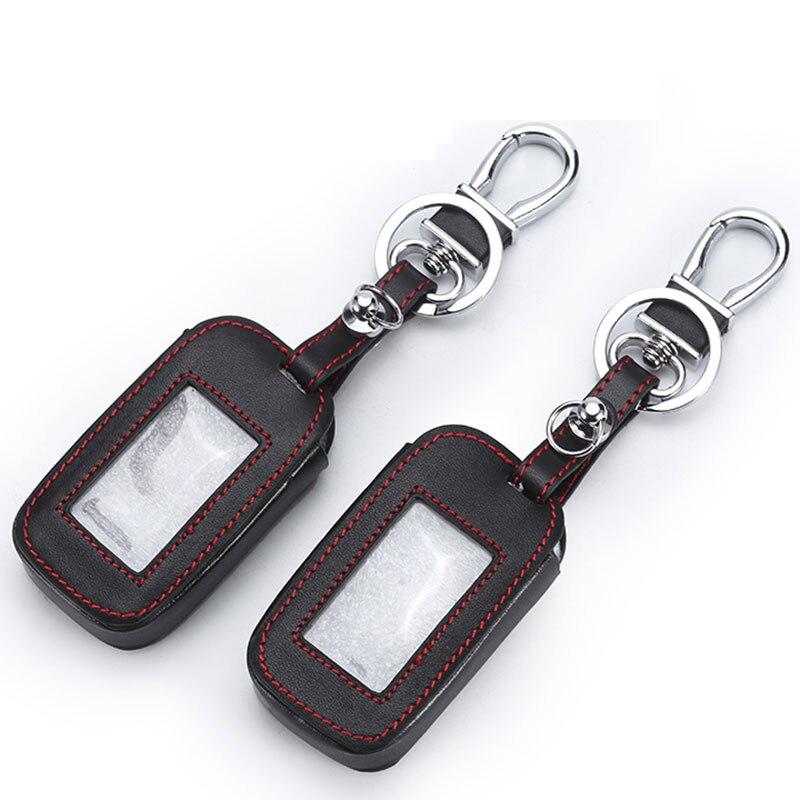Leather Key Cover For Starline E90 E91 E60 E61 E62 LCD Remote Control Only Two Way Car Alarm Keychain Case