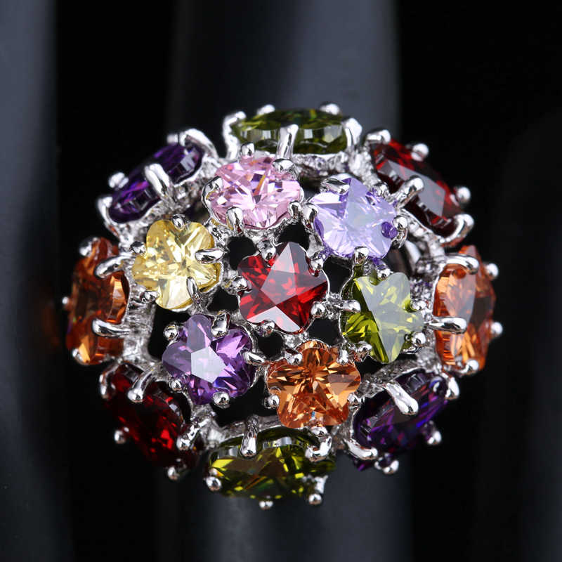 2016 Fashion Flowers Heart Shape Multicolor Morganite Garnet Women's Party Jewelry 925 Sterling Silver Rings Size 6 7 8 9 S1411