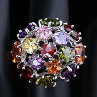 2016 Heart Shape Multicolor Morganite Garnet Party Jewelry 925 Sterling Silver Ring Size 6 / 7 / 8 / 9 S1411