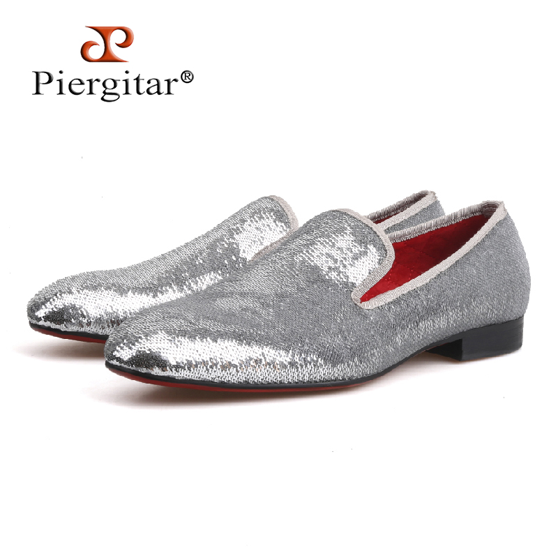 PIERGITAR brand 2018 luxurious sequins men's loafers wedding and prom two colors men handmade smoking slippers plus size shoes