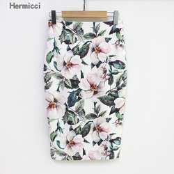 Hermicci 2018 Летний стиль юбка-карандаш Для женщин Высокая Талия зеленые юбки Винтаж Элегантный Bodycon цветочный юбка миди с принтом