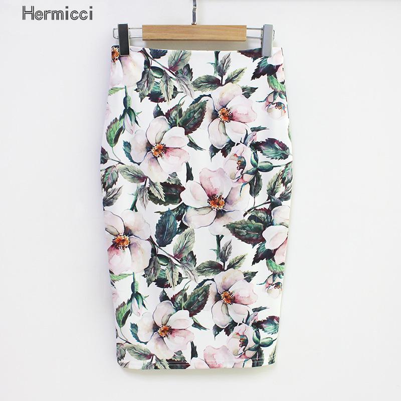 Hermicci 2017 Estilo Verão Mulheres Saia Lápis de Cintura Alta Saias Verdes Bodycon Elegante Do Vintage Floral Impressão Midi Saia