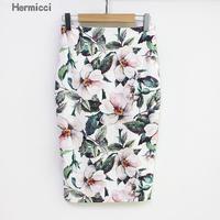 Hermicci 2017 Summer Style Pencil Skirt Women High Waist Green Skirts Vintage Elegant Bodycon Floral Print