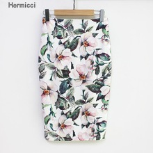 Hermicci 2017 Summer Style Pencil Skirt Women High Waist Green Skirts Vintage Elegant Bodycon Floral Print Midi Skirt