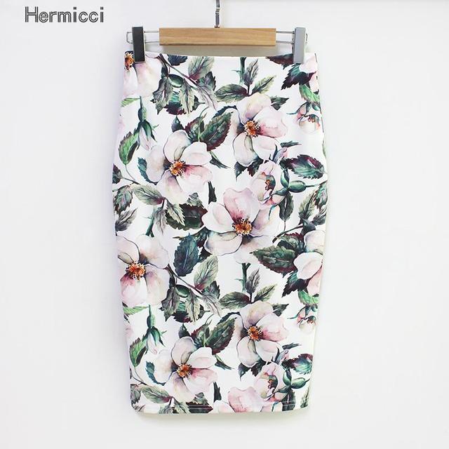 Hermicci Летний стиль 2017 г. юбка-карандаш Для женщин Высокая Талия зеленый Юбки для женщин Винтаж Элегантный Bodycon Цветочный принт юбка миди