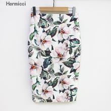 Hermicci 2018 ฤดูร้อนสไตล์ผู้หญิงกระโปรงดินสอสูงเอวกระโปรงสีเขียว VINTAGE Elegant Bodycon พิมพ์ดอกไม้พิมพ์ Midi กระโปรง