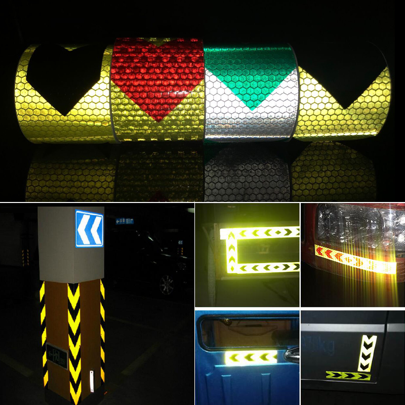 Купить с кэшбэком 5cmx5m  Reflective tape stickers car-styling Self Adhesive Warning Tape Automobiles Motorcycle Reflective Film
