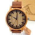 Bobo bird a20 a21luxury homens relógio de quartzo relógios com tiras de couro de madeira de bambu relojes mujer marca de lujo