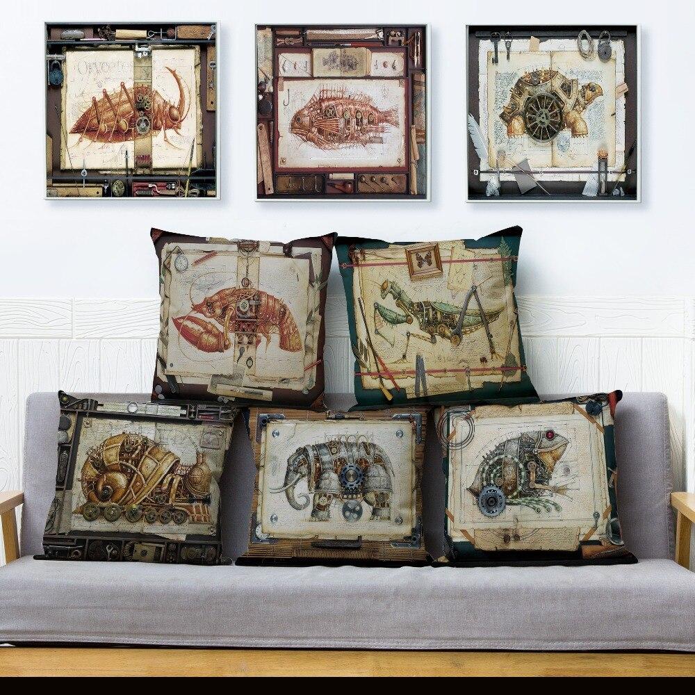 Стимпанк, искусственные наволочки, украшение для дома, подушка, чехол для дивана, собаки, чехол, льняная наволочка, 45*45 см