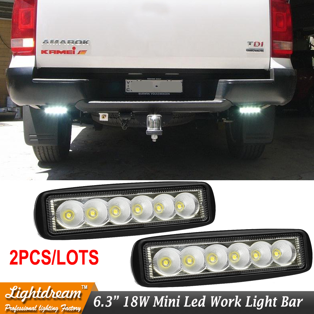 2X 18W 6 Inch Flood LED Work Light Bar Lamp Driving Fog Offroad Led Waterproof