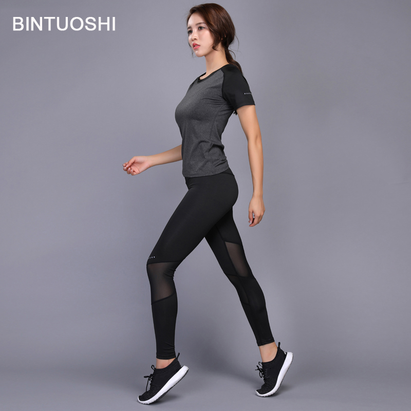 BINTUOSHI Sexy Yoga Set Women Fitness Running TShirt + Pants Breathable Gym Workout Clothes Compressed Yoga Leggings Sport Suit