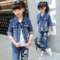 Дети одежда белье девочки джинсовая куртка джинсы костюм дети спортивная одежда из двух частей с длинными рукавами пальто костюм девушка одежда