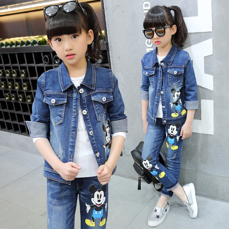 kids clothing set girls denim jacket jeans suit children sports clothing two piece long sleeved coat suit teenage girl clothes 2016 spring new girls sets long sleeved denim jacket with striped lace dress two piece nice quality children clothing set a396